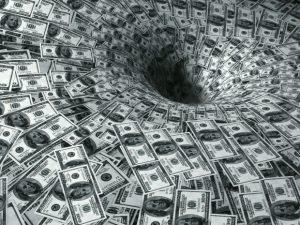 money going down black hole
